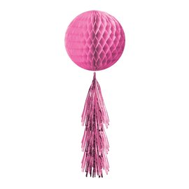 Hanging Decoration- Honeycomb Ball- With a Pink Fringe Tail- 28""