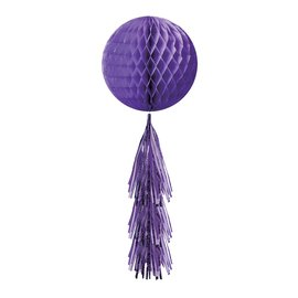 Hanging Decorations-Honeycomb Ball- Purple- With a Purple Fringe Tail