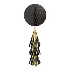 Hanging Decoration-Honeycomb Ball- Black- With a Black and Gold Fringe Tail