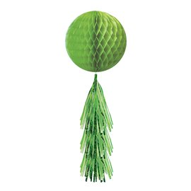 Hanging Decoration-Honeycomb Ball- Lime Green- With a Lime Green Fringe Tail