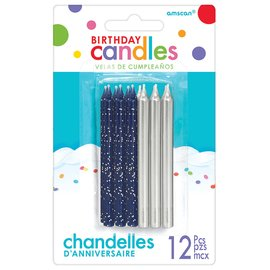 Candles-Blue and Silver-12pcs