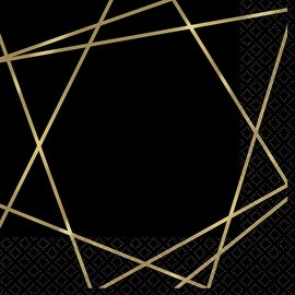 Luncheon Napkins- Gold Geo- 16pcs-3ply