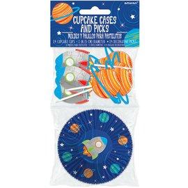 Cupcake Cases- Rocket Ship Space- 24 pcs