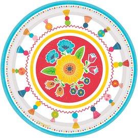 "Beverage Paper Plates- Fiesta Time- 8pk- 7"""