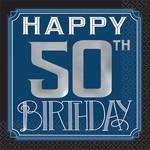 Beverage Napkins- Happy Birthday Man- 50th- 16pcs