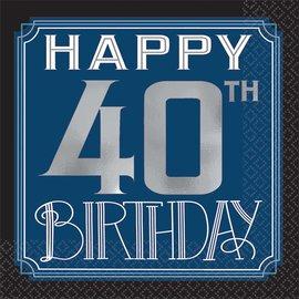 Beverage Napkins- Happy Birthday Man- 40th- 16pcs