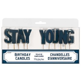 Candles- Happy Birthday Man- Stay Young- 9pcs