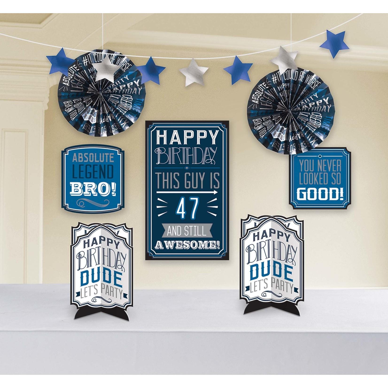 Room Decorating Kit- Add-Any-Age- Happy Birthday Man- 8pcs
