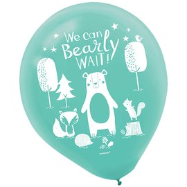Balloons-Latex-Bear-ly Wait-15pk-12""