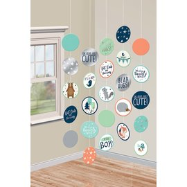 Hanging Circle Decorations- Bear-ly Wait- 5pcs