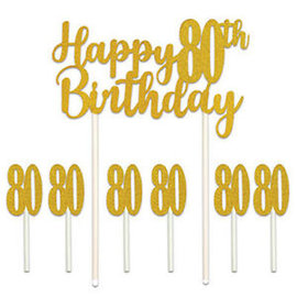 Cake Topper-Happy 80th Birthday-7pcs