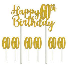 Cake Topper-Happy 60th Birthday-7pcs
