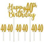 Cake Topper - Happy 40th Birthday - 7pcs