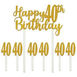 Cake Topper-Happy 40th Birthday-7pcs