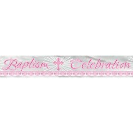 Banner-Radiant Cross Pink-Baptism-6ft