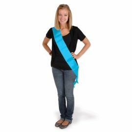 Satin Sash-Customizable-Turquoise-One Size Fits Most-1 Count