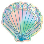 """Beverage Paper Plates- Shell Shaped- Mermaid Wishes- 8pk/7"""""""