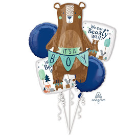 Foil Balloon-5 pk Balloon Bouquet-Its a boy-Bear