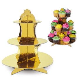 "Cupcake Stand-Metallic Gold-13.5"""