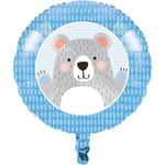 "Foil Balloon-First Birthday Bear-18"""