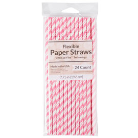 Paper Straws - Candy Pink - 24pk