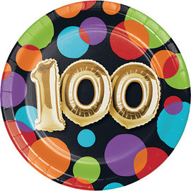 Beverage Paper Plates-100th Balloon Birthday-8pk-7""