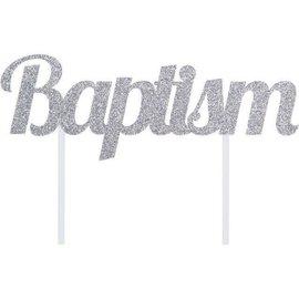 Cake Topper- Baptism/ Sparkle Silver/7In