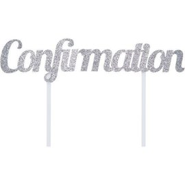Cake Topper - Confirmation/Sparkle Silver/7In