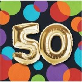Beverage Napkins-50th Balloon Birthday