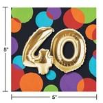 Beverage Napkins-40th Balloon Birthday
