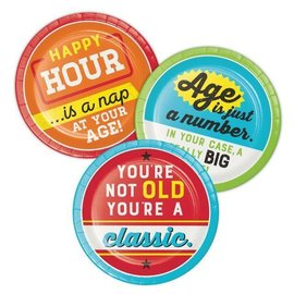 """Beverage Paper Plates-Age Humor Assorted-8pk-7"""""""