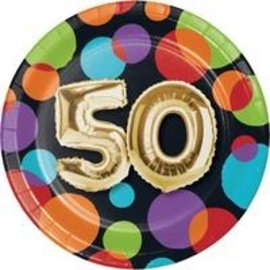 Beverage Paper Plates-50th Balloon Birthday