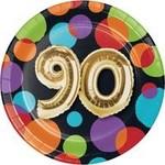 "Beverage Paper Plates-90th Balloon Birthday-8pk-7"""