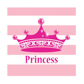 Beverage Napkins-Pink Princess Royalty-16pk-2ply