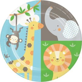 Beverage Paper Plates-Jungle Animals-8pk-7""