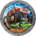 """Luncheon Paper Plates-Monster Truck Rally-8pk-9"""""""