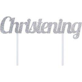 Cake Topper - Christening / Silver Glitter
