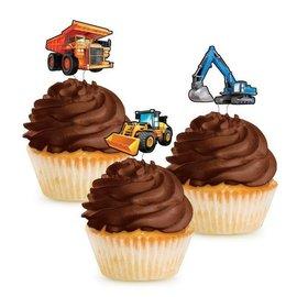 Cupcake Toppers-Big Dig Contruction-12pk