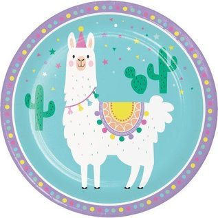Luncheon Paper Plates-Llama Party-8pk-9""