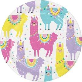 "Beverage Paper Plates-Llama Party-8pk-7"""
