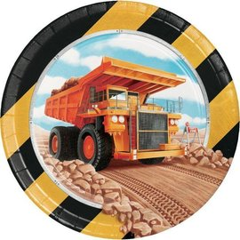 "Beverage Paper Plates - Big Dig Construction - 8pk -7"""