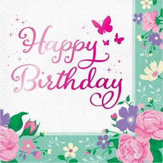Luncheon Napkins-Floral Fairy Sparkle-Happy Birthday-16pk-3ply