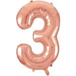 """Foil Balloon-Supershape-Number """"3""""-Rose Gold"""