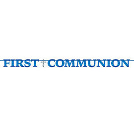 Banner-Foil Banner-First Communion Blue-12ft