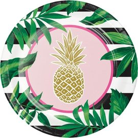 "Beverage Paper Plates- Pineapple Wedding- 8pk-7"""