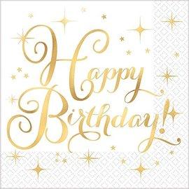Lunch Napkins- Happy Birthday- Gold Birthday-16pcs