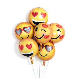 Foil Balloon- Emoticon Love- 5pk
