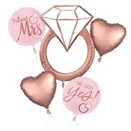 Foil Balloon-5pc Bouquet-Rose Gold She Said Yes Ring