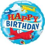 "Foil Balloon- Happy Birthday/Planes- 18"""