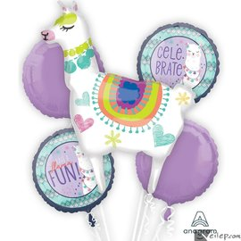 Foil Balloons - 5pc Bouquet - Party Llamas